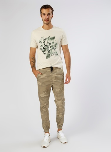 Jack & Jones Jack & Jones Baskılı Bej T-Shirt Bej